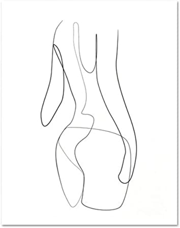 Poster Women Minimal Line Drawing Sketch Posters Abstract Nude Female Body Art Modern Canvas Painting Wall Pictures For Living Room R B 80x100cm Amazon Co Uk Kitchen Home