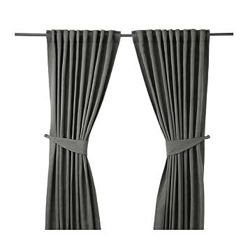 IKEA BLEKVIVA - Rideaux avec embrasses, 1 paire, gris - 145 x 300 cm ...