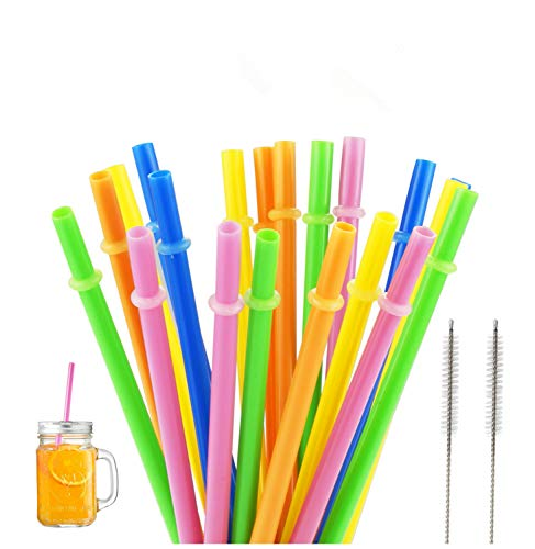 Yooga Plastic drinking Straws, Yeti straws, FDA and BPA-Free. Senfhome Colorful 22 Pieces 9.3 Inch Thick Plastic Drinking Straw for Party or Family Use, with 2 pcs Free Cleaning Brush.