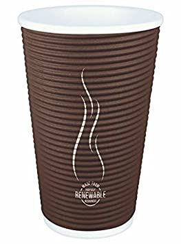 Disposable Insulated To Go Ripple Biodegradable Hot Coffee Cups with Lids 8 oz with Lid