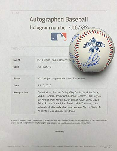 2010 All Star Baseball Ball - Verlander Suzuki Cabrera Weaver +15 Signed 2010 All-Star Baseball MLB COA - Autographed Baseballs