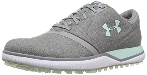 Under Armour Women's Performance SL Sunbrella Golf Shoe, Steel (100)/Refresh Mint, 6.5