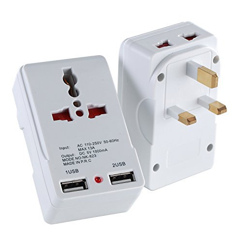 LURICO UK Travel Adapter Plug with 2 USB (1A) Charging Ports Grounded Built in Surge Protector and Light Indicator - Plug Type G for Great Britain, Hong Kong, Singapore & More