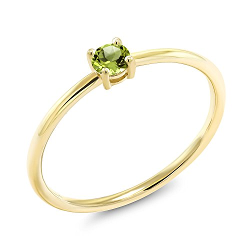 - Gem Stone King 0.18 Ct Round Green Peridot 10K Yellow Gold Solitaire Engagement Ring (Size 6)