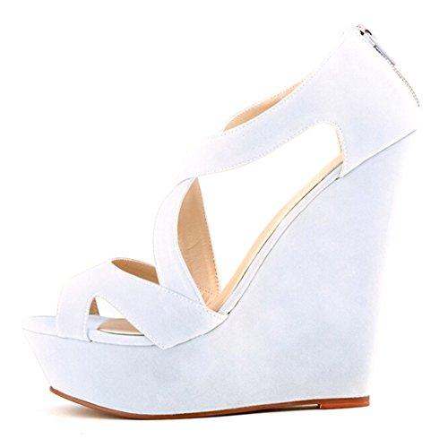 Azbro Mujer Zapatos De Cuñas Solido Multi-Correas Punta Abierta Blanco