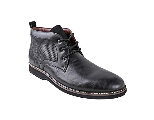 Ferro Aldo Men's Denver Ankle Boots | Lace Up | Mens Boots Fashion | Casual Fashion | Chukka Boots Men | Black/Black Sole 8