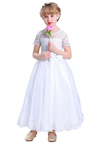 Happy Rose Lace Flower Girls Dresses First Communion Dress White Size 10 -