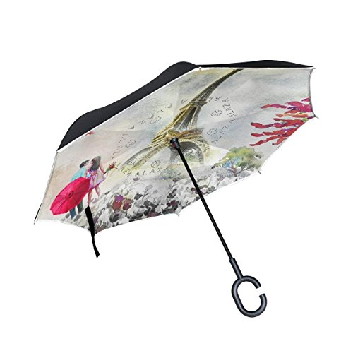 Ladninag Inverted Reverse Umbrella Eiffel Tower Watercolor Windproof for Car Rain ()