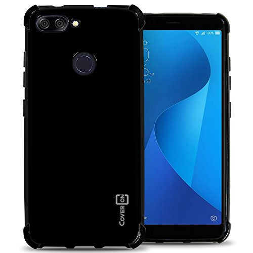 ZenFone Max Plus M1 Case (ZB570TL), CoverON FlexGuard Series Slim Fit TPU Phone Cover with Anti-Slip Grips and Shock Absorption Padding for ASUS ZenFone Max Plus (M1) - Glossy Black