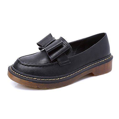 Women's Round Toe Flat Loafers Sweet Casual Shoes with Bow Black - 2