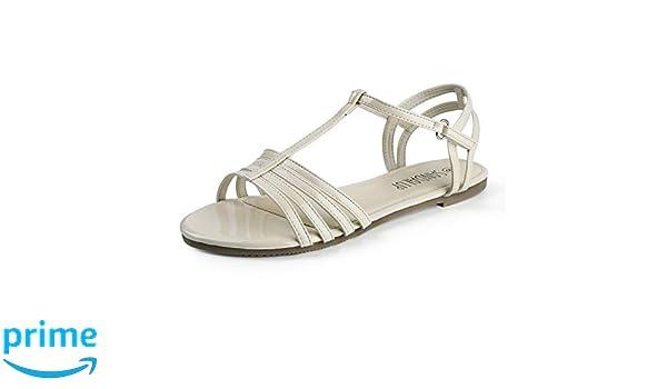 SANDALUP Flat Sandals for Women with Convenient Velcro Beige
