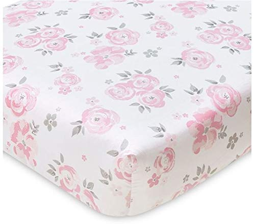 Wendy Bellissimo Nursery Bedding Baby Crib Bedding Fitted Sheet 200 Thread Count - Savannah Floral Grey, White + Pink (Celebrity Bed Sheets)