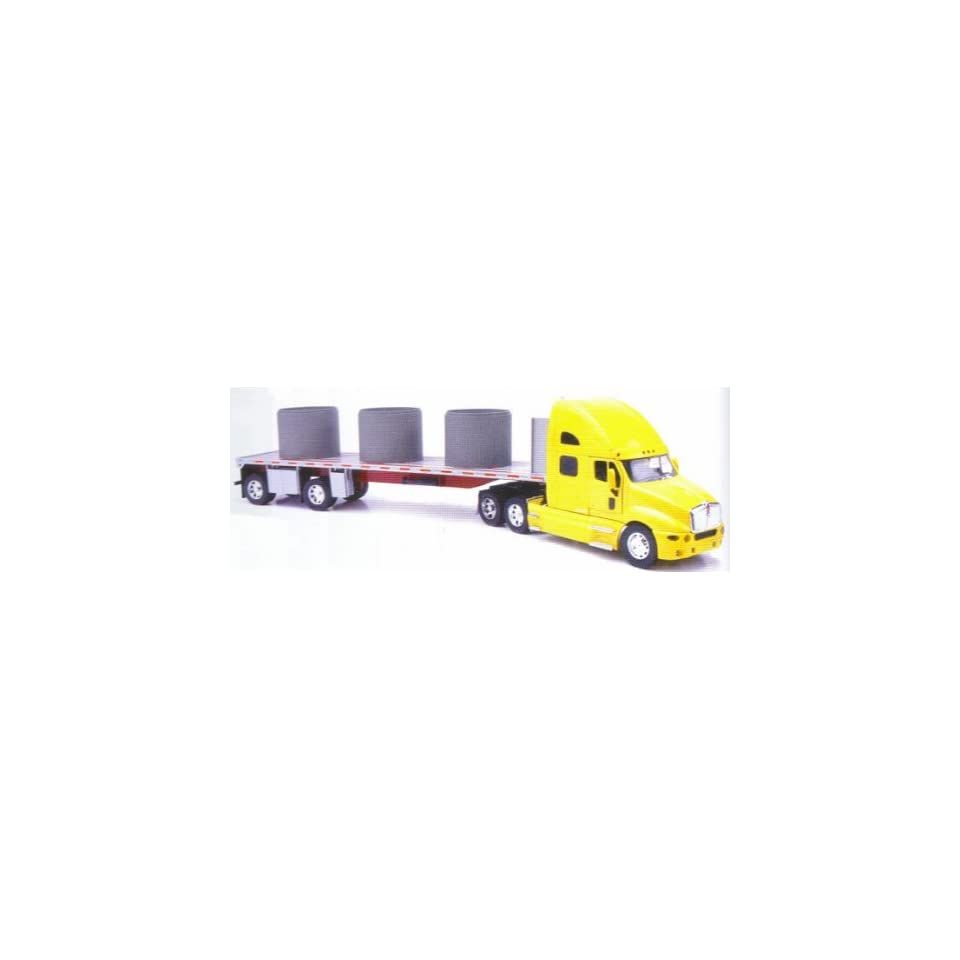New Ray Kenworth T2000 Truck With Flatbed Trailer 132 Scale   New Ray NR 12253