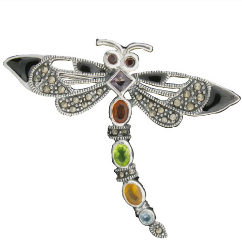 Avatar Sterling Sterling Silver Marcasite and Multigemstone Dragonfly Pin