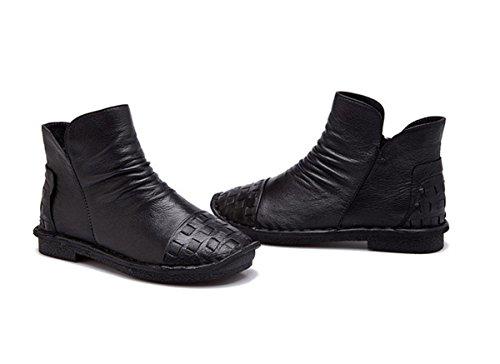 Cashmere Zapatos 5 4 uk Eur35uk3 3 Nuevo Tacón 36 Señoras Invierno Botas Mujer Nvxie Fiesta Otoño Redonda Caliente Cabeza Cortas Ocio De Bajo Trabajo Piel Más Pisos Genuina Bombas Eur Antideslizantes FxqAfIAnwZ
