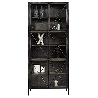 Pulaski Industrial Glass and Metal Display Cabinet, Dark Grey (B0736PFSQX) | Amazon price tracker / tracking, Amazon price history charts, Amazon price watches, Amazon price drop alerts
