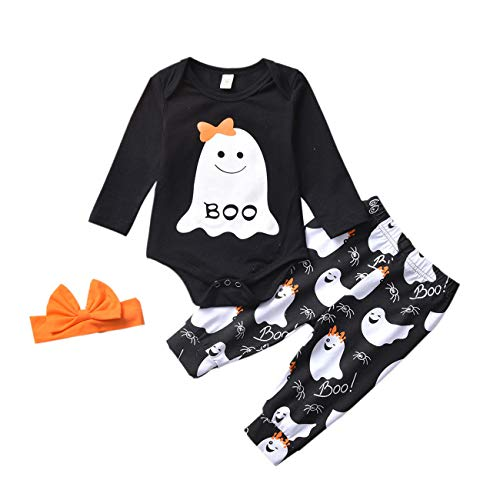 BabyHalloween Outfits, Toddler Girls Boys Onesie Ghost Pants Headband HalloweenCostume 3Pcs (Girls, 0-3months)