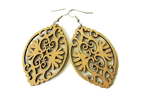 Light Brown Baroque Style Wooden Earrings for Women, Laser Cut Hippie Boho Style Earrings for Women
