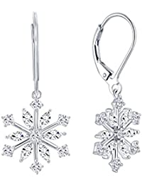 Sterling Silver Winter Snowflake Pendant Necklace Earrings Set with Cubic Zirconia for Women Christmas Gift