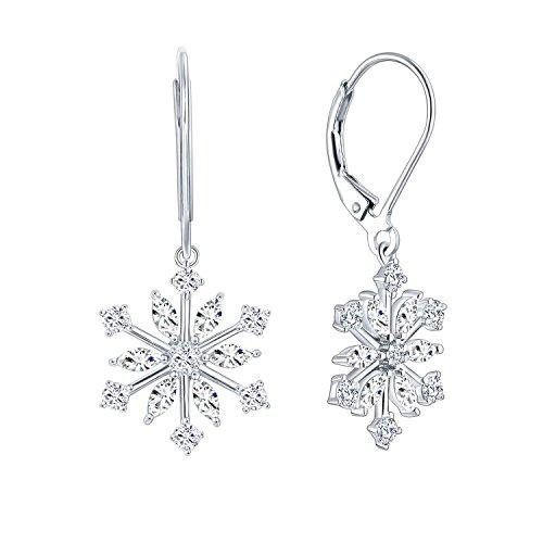 JO WISDOM 925 Sterling Silver Cubic Zirconia Snowflake Leverback Earrings Drop & Dangle - Silver Snowflake Earrings Sterling