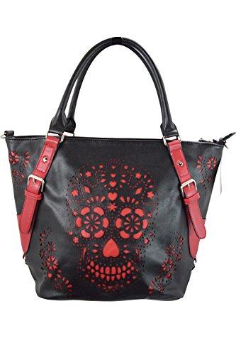 Banned-Rockabilly-Punk-Black-Red-Laser-Cut-Sugar-Skull-Design-Shoulder-Bag