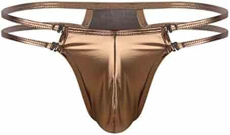 a43caecdc9 ... Bulge Pouch G-String T-Back Underwear. seller: dPois. (0). YiZYiF Men's  Shiny Leather Jockstrap Thong Underwear Low Rise Jock Strap Bikini Briefs