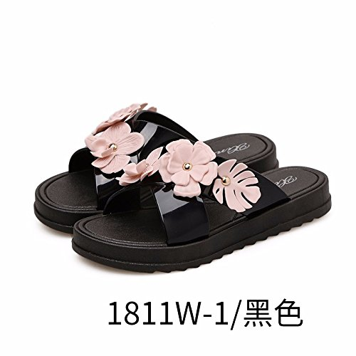 wear women's bottom Women fashionable shoes thick shoes flat slippers summer beach bottomed in Black new XIAOGEGE atYHx