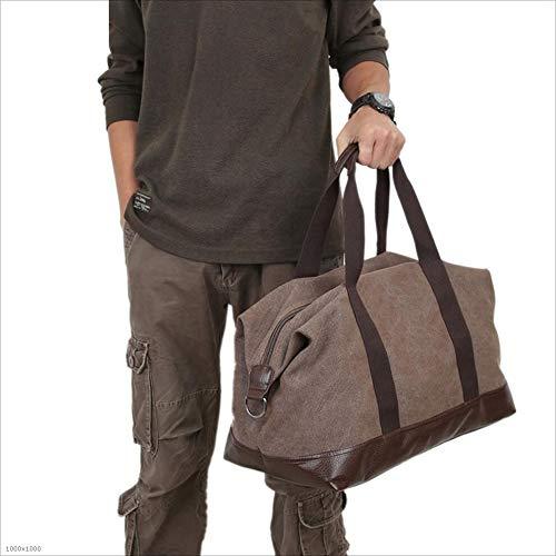 Yangjiaxuan Portable Canvas Travel Bag Shoulder Diagonal Large-Capacity Duffel Bag (Color : Coffee)