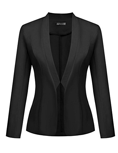 ACEVOG Womens Casual Work Office Solid Color Long Sleeve Open Front Short Blazer Jacket