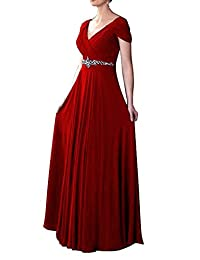 VaniaDress Women V Neck Crystal Beading Long Prom Dress Evening Gowns V260LF