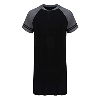 36bce7e3 Imposes Mens Cotton Nightwear Raglan Sleeve Comfy Sleep Shirt with Half  Button (M,Black