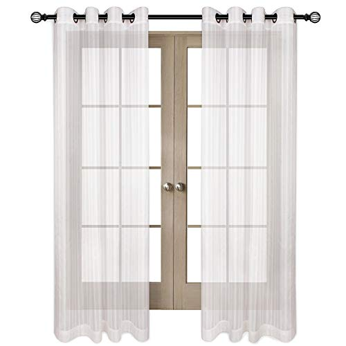 VOILYBIRD Slim Natural Linen Stripe White Sheer Curtains for Bedroom 84 Inches Long Bronze Grommet Window Treatment (W52 x L84, Set of 2) ()