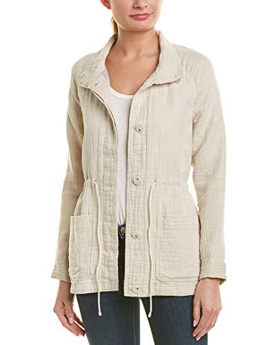 James Perse Womens Gauze Linen-Blend Parka Jacket, 0, Beige ()
