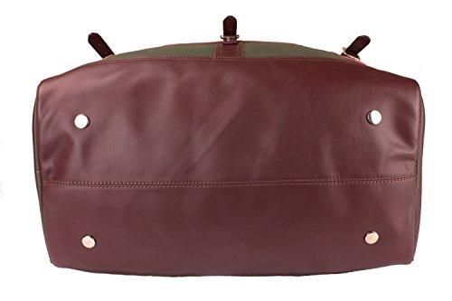Viosi Balboa Leather Waxed Canvas Weekender Duffel Bag with Matching Toiletry Bag [Hunter Green] by Viosi (Image #3)