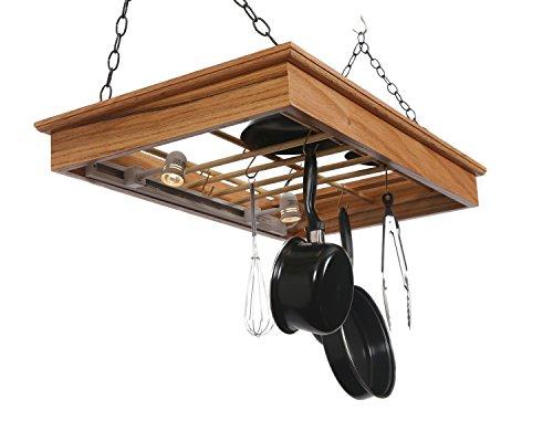 Hanging Pot Rack with Lights by Laurel Highlands Woodshop