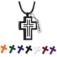 """Father's Gift for Thanksgiving Aromatherapy Essential Oil Diffuser Necklace for Mens, Hypoallegenic Stainless Steel Pendant (Cross) with 24"""" Rolo Chain+ 7 Refill Pads, Men's Jewelry"""