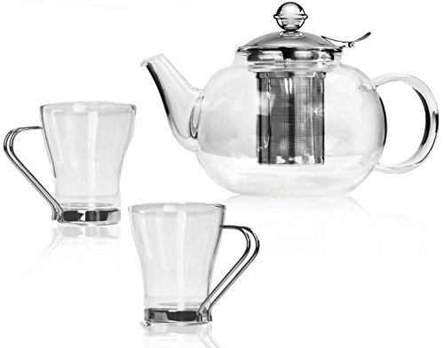 Bonabici Loose Leaf Tea Kettle Set w/Fancy Teapot and Cups - Borosilicate Glass and Stainless Steel w/Snap-Fit Hinged Infuser & Brewing Chart (20 oz)