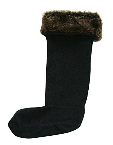 Welly Socks for Women in Warm Fleece - 6 Colour Options Black Fur Top ffhvkAu8