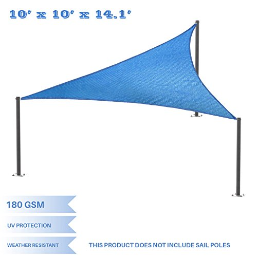E&K Sunrise 10' x 10' x 14' Right Triangle Sun Shade Sail, Shade Fabric Cover Backyard Deck Sail Canopy UV Block - Blue - 10' Deck Scrub Brush