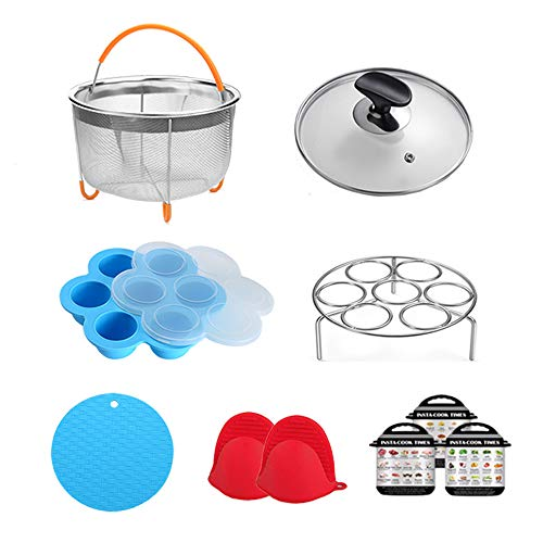 ULEE Pressure Cooker Accessories Compatible with Instant Pot 3 Qt - Including Steamer Basket, Tempered Glass Lid, Egg Steamer Rack, Oven Mitts, Magnetic Cheat Sheet and More