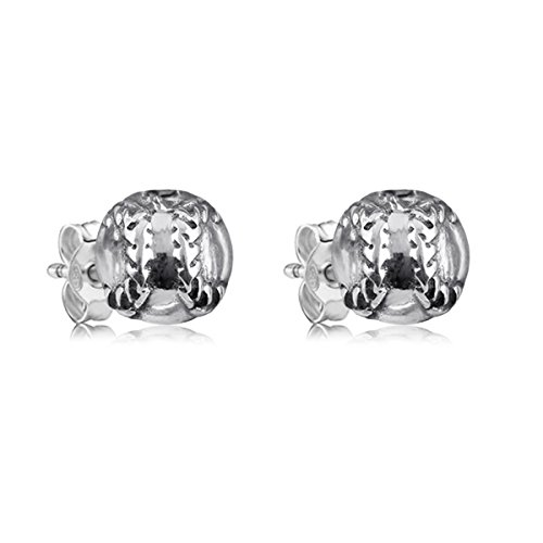 Sterling Silver Baseball Post Earrings - 1