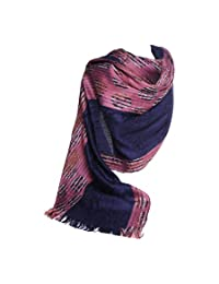 High Quality Luciano Caruso Designer Pashmina Scarf / Shawl, in Purple / Navy Blue, with Fringes. Lightweight, Silky-feel Fabric. Also Browse for Beige, Green, and Burgundy.