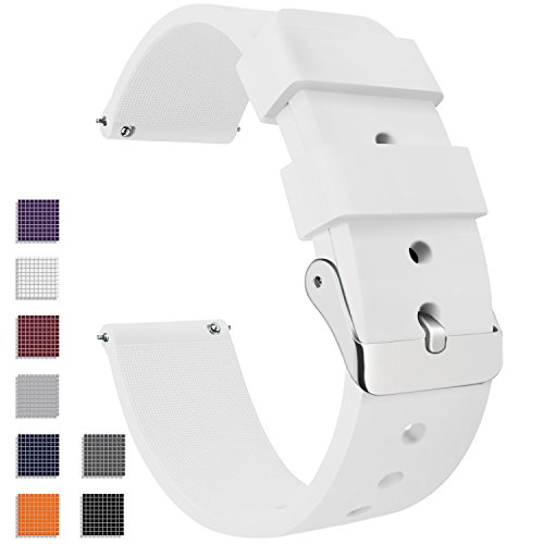 Vetoo Watch Band, Quick Release Silicone Watch Bands, Choose Color and Width 18mm, 20mm, 22mm, Rubber Replacement Band for Traditional & Smart Watch ()