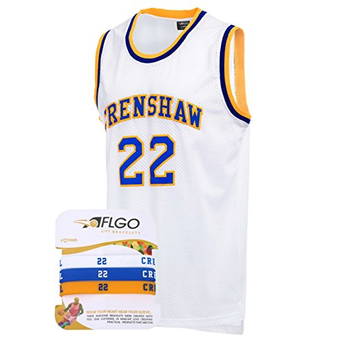 AFLGO Omar EPPS Quincy McCall 22 Crenshaw High School White Basketball Jersey Include Set Wristbands S-XXL (White, M/48)