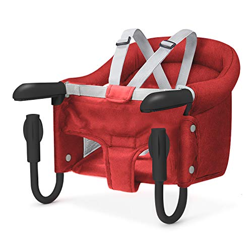 Hook On Chair, Safe and High Load Design, Fold-Flat Storage and Tight Fixing Clip on Table High Chair, Machine-Washable and Avoid Cracking Fabric, Removable Seat Cushion, Fast Table Chair (Red)