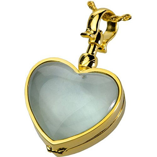 Memorial Gallery Victorian Glass Heart Locket Cremation Jewelry, 18'', Gold-Plated