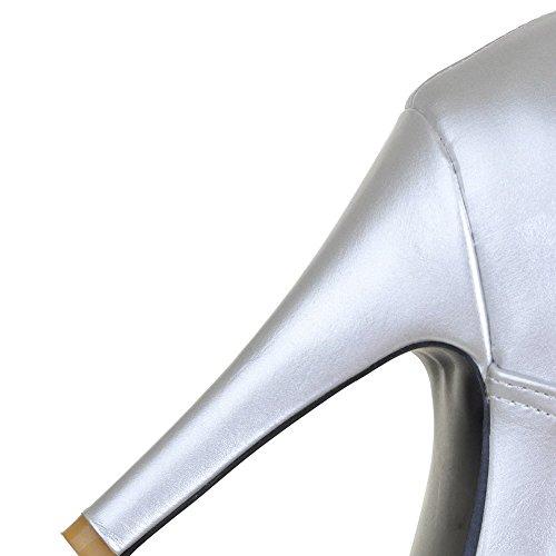 VogueZone009 Damen Spitz Zehe Schnüren PU Leder Knöchel Hohe Stiletto Stiefel Silber