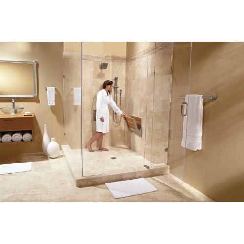 on sale Moen DN7110 Teak Folding Shower Seat, Aluminum