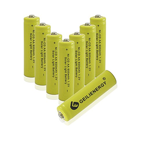 GEILIENERGY Solar Light AA Ni-CD 600mAh Rechargeable Batteries,AA Rechargeable Batteries for Solar Lights Solar Lamp (Pack of 8)
