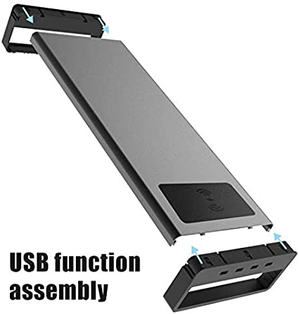 Syfinee Monitor Stand Smart Base Aluminum Alloy Computer Laptop Base Stand Desktop Monitor Screen Riser Anti-Slip Monitor Mount with USB 3.0 Port for Computer//Printer//Laptops//TV